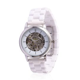 GENOA Skeleton Dial Automatic Water Resistant White Ceramic Watch in Silver Tone
