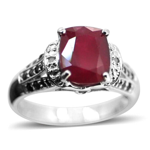 African Ruby (Cush 4.25 Ct), Burmese Ruby and Diamond Ring in Rhodium Plated Sterling Silver 5.010 Ct.