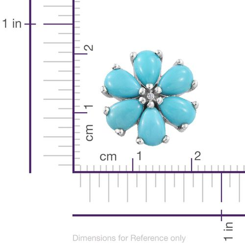 Sleeping Beauty Turquoise 4.50 Ct Platinum Overlay Silver Floral Stud Earrings