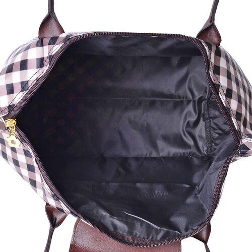 Set of 2 - Gingham Water Resistance Large Handbag (Size 45x28x27.5x17 Cm) and Small Handbag (Size 32x21x20x12.5 Cm)
