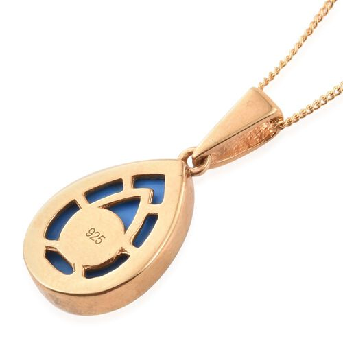 Ceruleite (Pear) Solitaire Pendant With Chain in 14K Gold Overlay Sterling Silver 4.000 Ct.