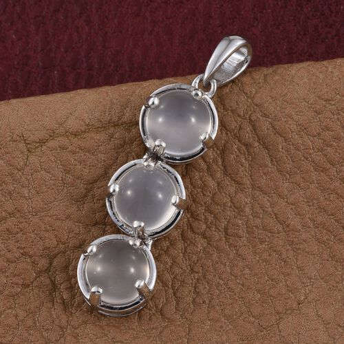 Sri Lankan White Moonstone (Rnd) Trilogy Pendant in Platinum Overlay Sterling Silver 5.000 Ct.