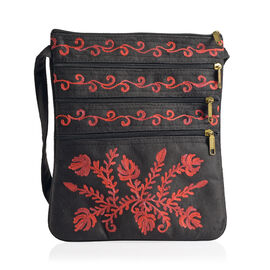 DOD - Hand Embroidered Red Colour Leaves Black Suede Fabric Sling Bag (Size 27x20 Cm)