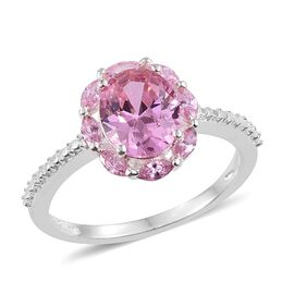 ELANZA AAA Simulated Pink Sapphire (Ovl) Ring in Sterling Silver