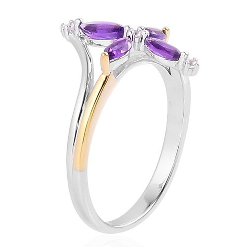 AA Lusaka Amethyst (Mrq), White Zircon Ring in Yellow Gold and Platinum Overlay Sterling Silver 0.700 Ct.
