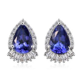 ILIANA 18K White Gold 3 Carat AAA Tanzanite Stud Earrings With Diamond SI G-H