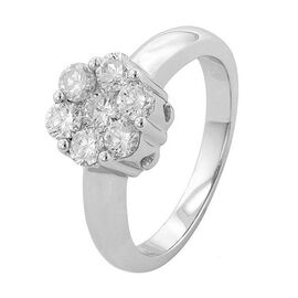 ILIANA 18K W Gold SGL Certified Diamond (Rnd) (SI /G-H) 7 Stone Floral Ring 1.000 Ct.