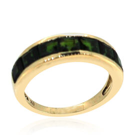 9K Y Gold Russian Diopside (Sqr) Half Eternity Band Ring 2.500 Ct.