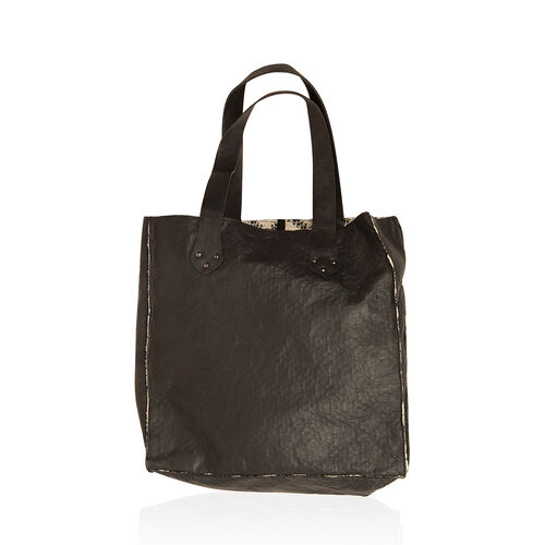 Linea Black Genuine Leather With 100% Cotton Floral Lace Bonding Reversible Tote (Size 34x34x8 Cm)