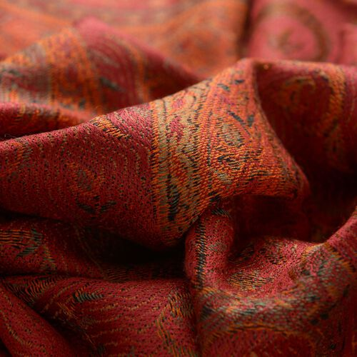 100% Superfine Silk Red and Green Colour Paisley Pattern Orange Colour Jacquard Jamawar Scarf with Fringes (Size 180x70 Cm) (Weight 125-140 Grams)