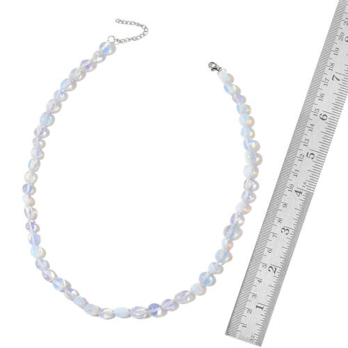 (Option-2) Opalite Necklace (Size 18 with 2 inch Extender) in Rhodium Plated Sterling Silver 50.000 Ct.