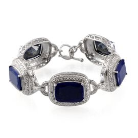 Lapis Lazuli (Cush), Tanzanite Bracelet in Platinum Overlay Sterling Silver (Size 8) 50.100 Ct.