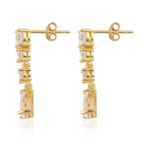 ELANZA AAA Simulated White Diamond Earrings (with Push Back) in Yellow Gold Overlay Sterling Silver
