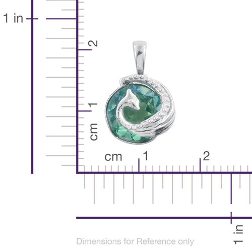 Peacock Quartz (Rnd) Peacock Pendant in Platinum Overlay Sterling Silver 3.000 Ct.