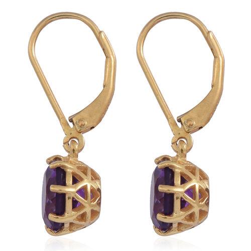 Lusaka Amethyst (Rnd) Lever Back Earrings in 14K Gold Overlay Sterling Silver 3.500 Ct.