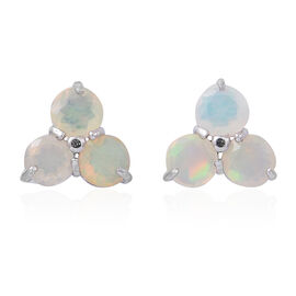 Ethiopian Welo Opal (Rnd) Earrings in Rhodium Plated Sterling Silver 1.000 Ct.