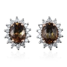 9K R Gold Jenipapo Andalusite (Ovl), Diamond Stud Earrings (with Push Back) 2.000 Ct.