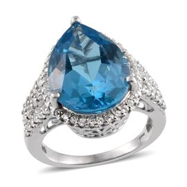 Electric Swiss Blue Topaz (Pear 12.00 Ct), White Topaz Ring in Platinum Overlay Sterling Silver 13.000 Ct.
