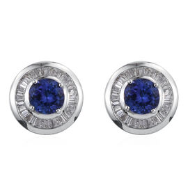 ILIANA 18K W Gold AAA Tanzanite (Rnd), Diamond Stud Earrings 1.750  Ct.
