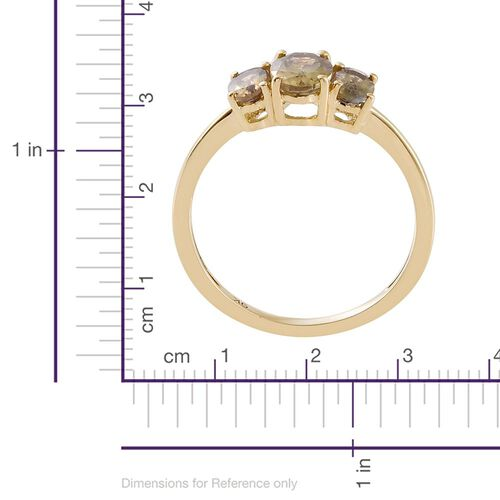 9K Yellow Gold 1 Carat AA Natural Yellow Tanzanite 3 Stone Ring