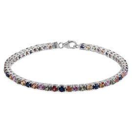Multi Sapphire (Rnd) Tennis Bracelet (Size 7.5) in Platinum Overlay Sterling Silver 8.000 Ct.
