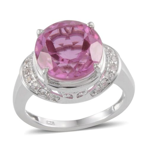 Kunzite Colour Quartz (Rnd 7.75 Ct), White Topaz Ring in Platinum Overlay Sterling Silver 8.100 Ct.