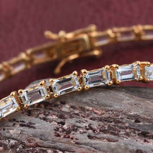 Espirito Santo Aquamarine (Oct) Tennis Bracelet (Size 8) in 14K Gold Overlay Sterling Silver 9.000 Ct.