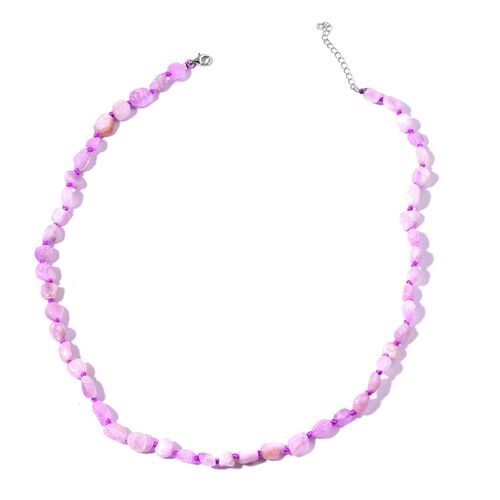 Rare Kunzite Necklace (Size 18 with 2 inch Extender) in Rhodium Plated Sterling Silver 105.000 Ct.