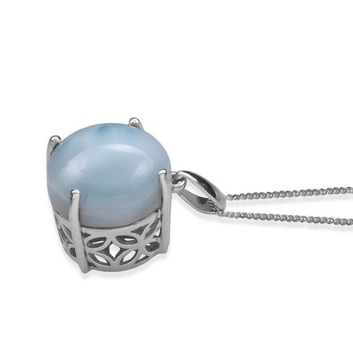 Larimar (Rnd) Solitaire Pendant With Chain in Platinum Overlay Sterling Silver 13.000 Ct.