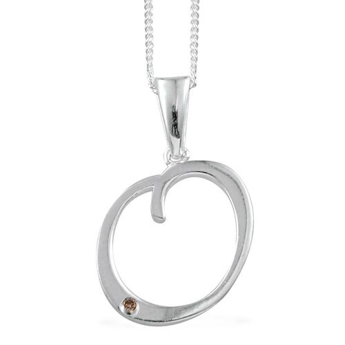 Diamond (Rnd) Initial O Pendant with Chain in Sterling Silver