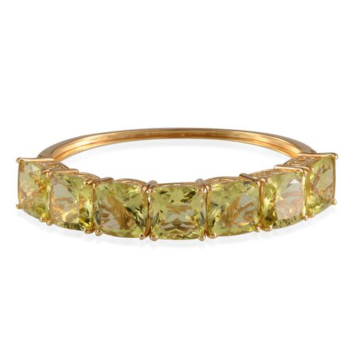Brazilian Green Gold Quartz (Cush) Bangle (Size 7.5) in 14K Gold Overlay Sterling Silver 74.500 Ct.