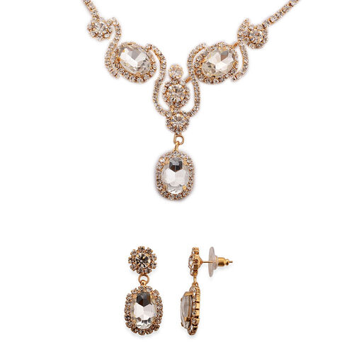 White Glass, Austrian Crystal Earrings and Necklace in Gold Tone