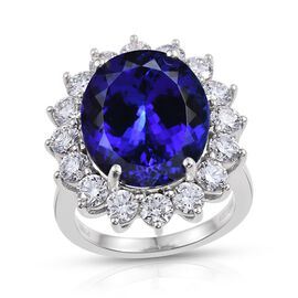 RHAPSODY 950 Platinum AAAA Tanzanite (Ovl 15.25 Ct), Diamond (VS/E-F) Ring 17.750 Ct.