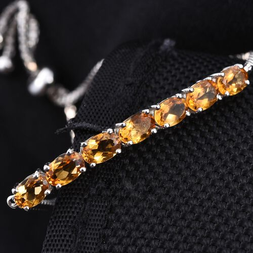 Citrine (Ovl) Adjustable Bracelet (Size 6 to 9) in ION Plated Platinum Bond 3.000 Ct.
