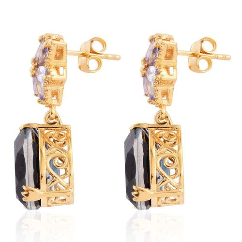 Indicolite Quartz (Pear), Tanzanite Earrings (with Push Back) in 14K Gold Overlay Sterling Silver 14.000 Ct.