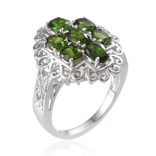 Russian Diopside (Ovl) Ring in Platinum Overlay Sterling Silver 3.250 Ct.