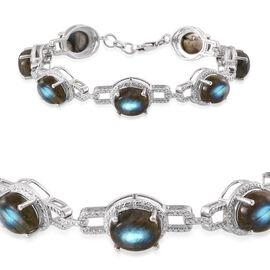 Labradorite (Ovl) Bracelet (Size 7.5) in Platinum Overlay Sterling Silver 33.000 Ct.