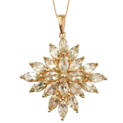 Natural Canary Apatite (Mrq) Cluster Pendant With Chain in 14K Gold Overlay Sterling Silver 7.500 Ct.