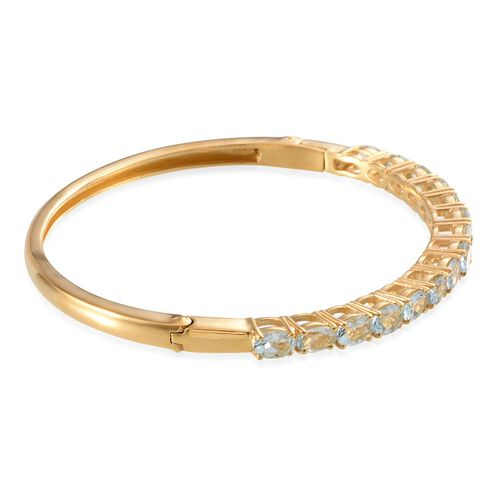 Espirito Santo Aquamarine (Ovl) Bangle (Size 7.5) in 14K Gold Overlay Sterling Silver 5.500 Ct.