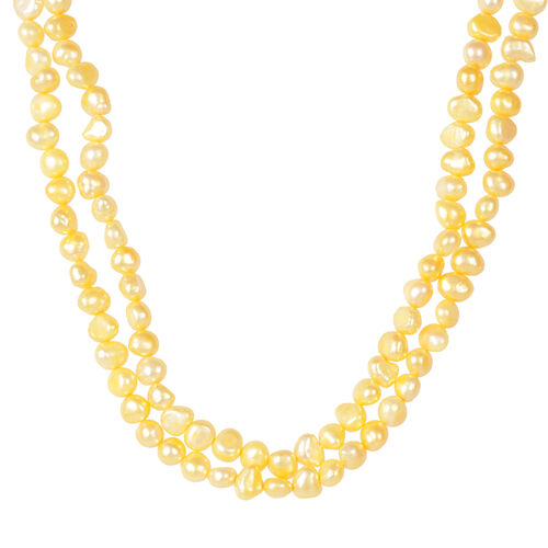 Limited Edition-Fresh Water Honey Yellow Pearl Necklace (Size 18) in Rhodium Plated Sterling Silver