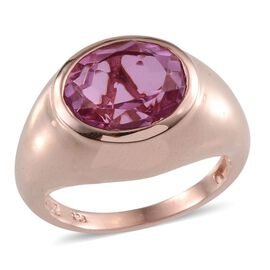 Kunzite Colour Quartz (Ovl) Solitaire Ring in Rose Gold Overlay Sterling Silver 5.750 Ct.