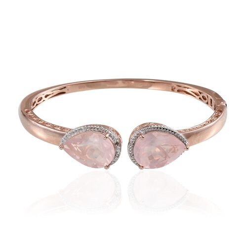 Rose Quartz (Pear), Diamond Bangle (Size 7.5) in ION Plated Rose Gold Bond 19.030 Ct.