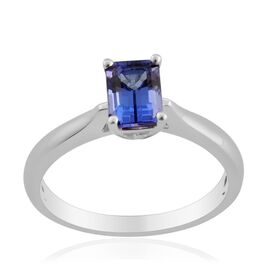 ILIANA 18K W Gold AAA Tanzanite (Oct) Solitaire Ring 1.000 Ct.