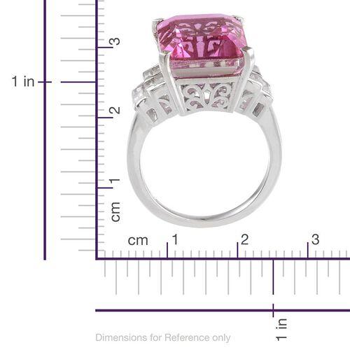 Kunzite Colour Quartz (Oct 11.75 Ct), White Topaz Ring in Platinum Overlay Sterling Silver 13.000 Ct.