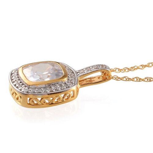 AAA Simulated White Diamond (Cush) Pendant With Chain in Yellow Gold Overlay Sterling Silver