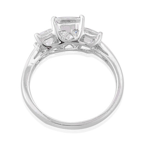 J Francis - Platinum Overlay Sterling Silver Princess Cut Ring  Made with SWAROVSKI ZIRCONIA  3.580  Ct.