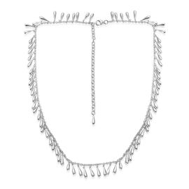 LucyQ Multi Mini Drip Necklace (Size 18 with 4 Inch Extender) in Rhodium Plated Sterling Silver 46.50 Gms.