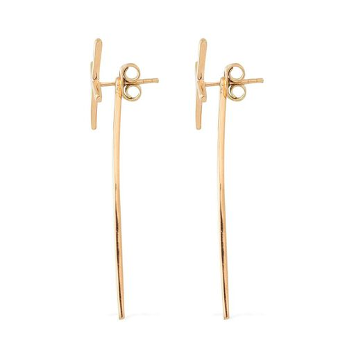 14K Gold Overlay Sterling Silver Windmill Design Earrings (with Push Back), Silver wt 3.18 Gms.