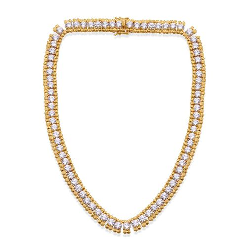 J Francis - 14K Gold Overlay Sterling Silver (Rnd) Necklace (Size 15) Made with SWAROVSKI ZIRCONIA 35.420 Ct.