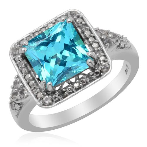KARIS Collection Signity Paraiba Topaz (Sqr 3.00 Ct) White Topaz and Diamond Ring in Platinum Bond  3.150 Ct.